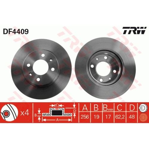 Brake Disc TRW DF4409 HYUNDAI