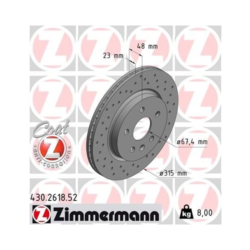 ZIMMERMANN Brake Disc 430.2618.52