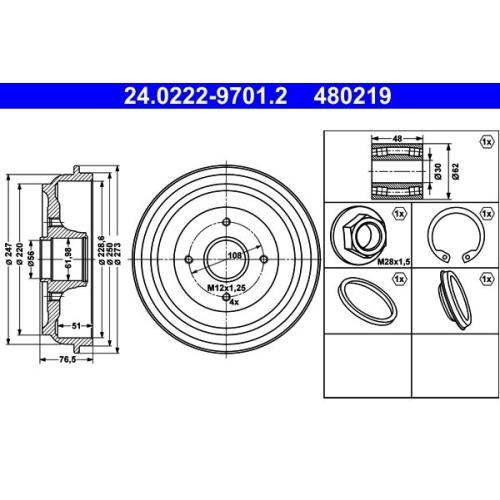 ATE Bremstrommel 24.0222-9701.2