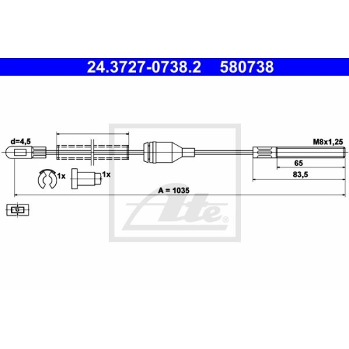 ATE Cable, parking brake 24.3727-0738.2