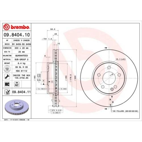 BREMBO Brake Disc 09.8404.11