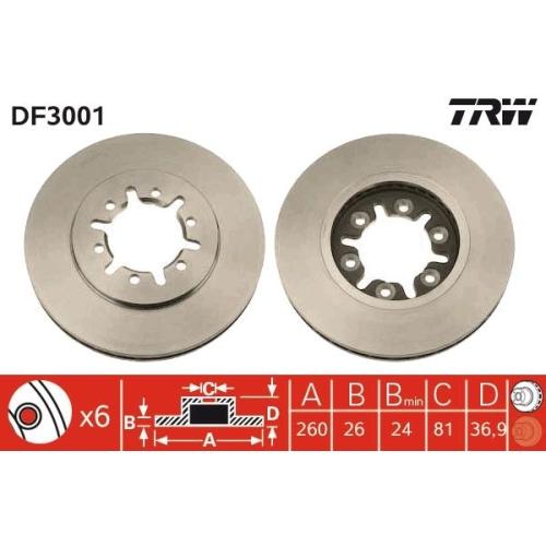 Brake Disc TRW DF3001 NISSAN
