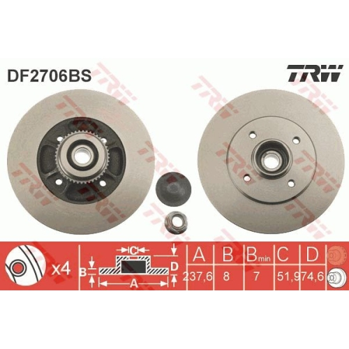 TRW Brake Disc DF2706BS