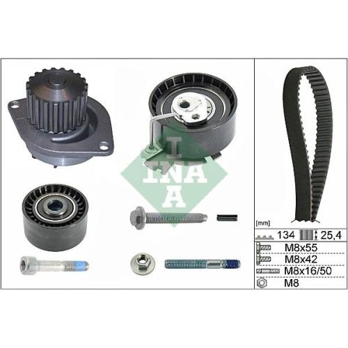 Water Pump & Timing Belt Set INA 530 0379 30 CITROËN PEUGEOT CITROËN (DF-PSA)