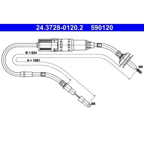 Seilzug, Kupplungsbetätigung ATE 24.3728-0120.2 VAG