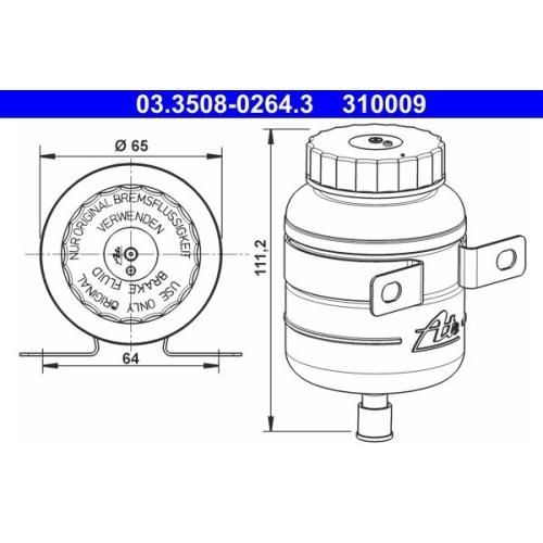 Ausgleichsbehälter, Bremsflüssigkeit ATE 03.3508-0264.3 HANOMAG MAGIRUS-DEUTZ