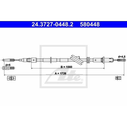 ATE Cable, parking brake 24.3727-0448.2