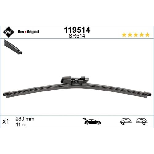 Wiper Blade SWF 119514 ORIGINAL VISIOFLEX REAR SEAT SKODA VW VW (FAW)