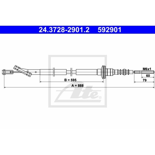 ATE Clutch Cable 24.3728-2901.2
