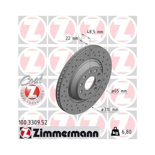 ZIMMERMANN Brake Disc 100.3309.52