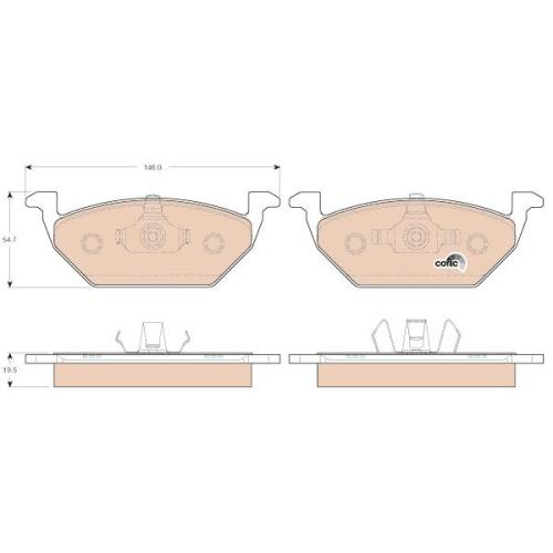 Brake Pad Set, disc brake TRW GDB1984 COTEC AUDI SEAT SKODA VW VW (FAW) VW (SVW)