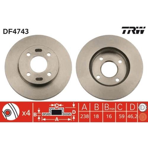 Brake Disc TRW DF4743 NISSAN SUZUKI