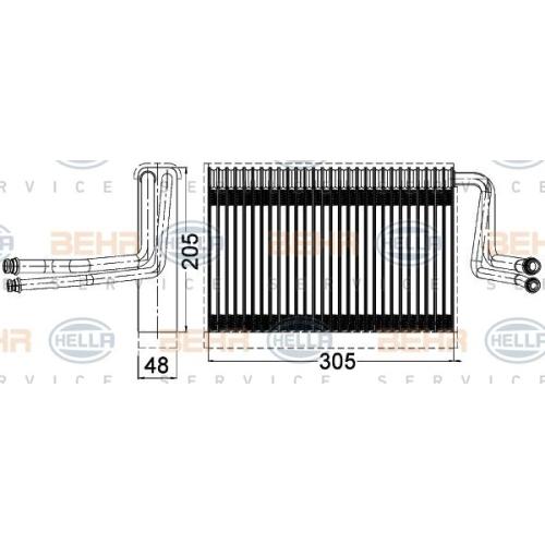 Evaporator, air conditioning HELLA 8FV 351 331-261 BMW BMW (BRILLIANCE)