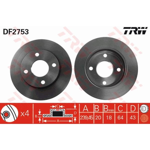 Brake Disc TRW DF2753 FORD MAZDA FORD (CHANGAN)