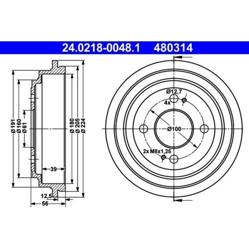 Bremstrommel ATE 24.0218-0048.1 HONDA