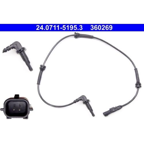 Sensor, Raddrehzahl ATE 24.0711-5195.3 RENAULT