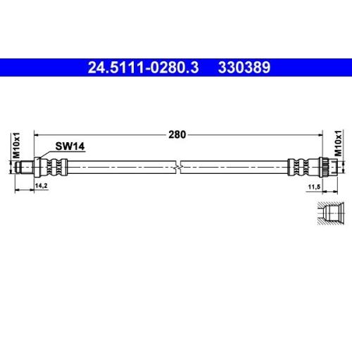 Brake Hose ATE 24.5111-0280.3 RENAULT