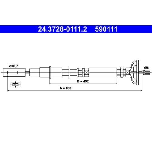 Seilzug, Kupplungsbetätigung ATE 24.3728-0111.2 VAG
