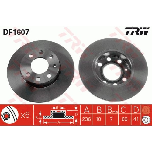 TRW Brake Disc DF1607