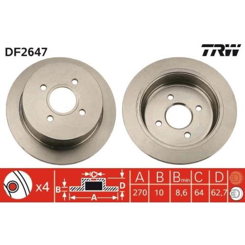 Brake Disc TRW DF2647 FORD