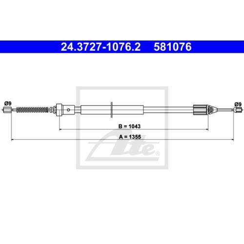 ATE Cable, parking brake 24.3727-1076.2