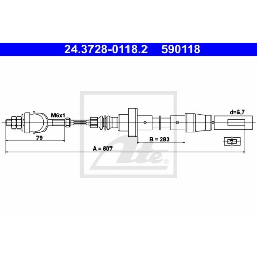 Clutch Cable ATE 24.3728-0118.2 VAG