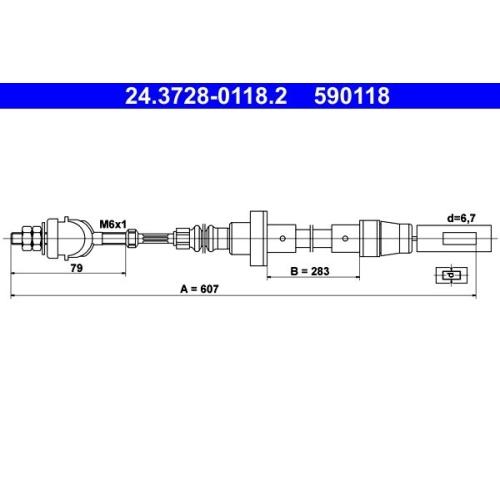 Seilzug, Kupplungsbetätigung ATE 24.3728-0118.2 VAG