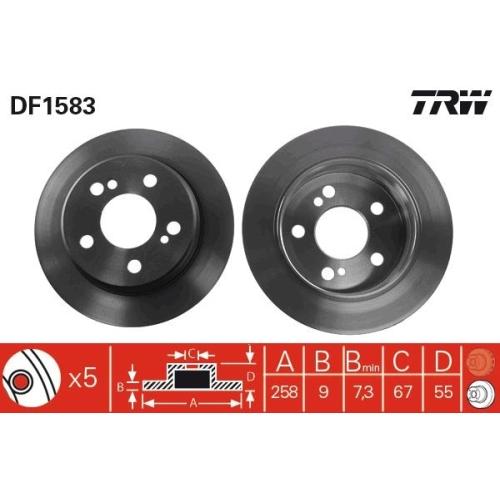 Brake Disc TRW DF1583 MERCEDES-BENZ