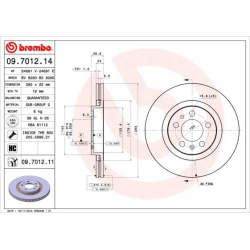 BREMBO Brake Disc 09.7012.11