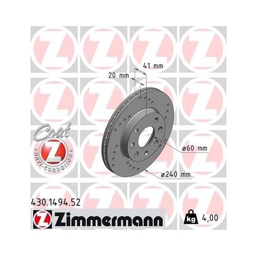ZIMMERMANN Brake Disc 430.1494.52