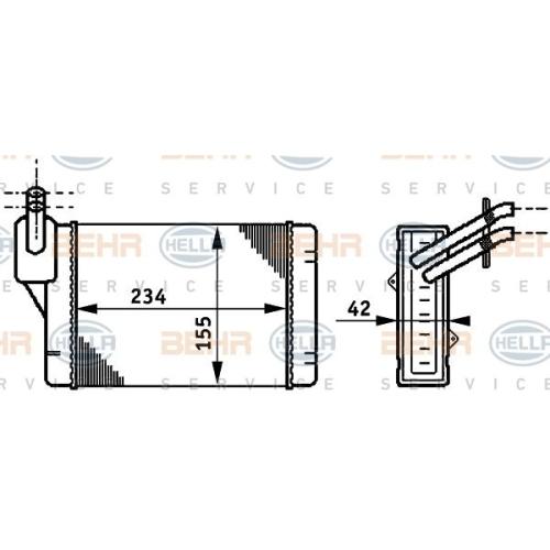 Wärmetauscher, Innenraumheizung HELLA 8FH 351 311-011 AUDI SEAT SKODA VW