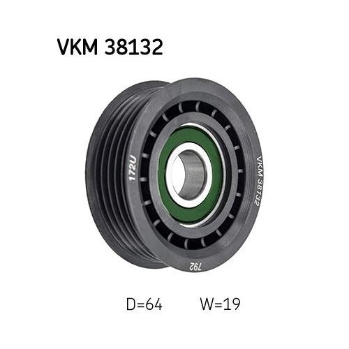 Deflection/Guide Pulley, v-ribbed belt SKF VKM 38132 MERCEDES-BENZ