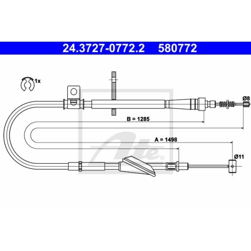 ATE Cable, parking brake 24.3727-0772.2
