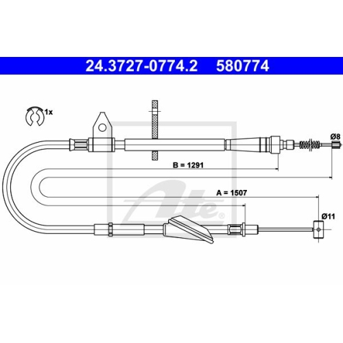 ATE Cable, parking brake 24.3727-0774.2
