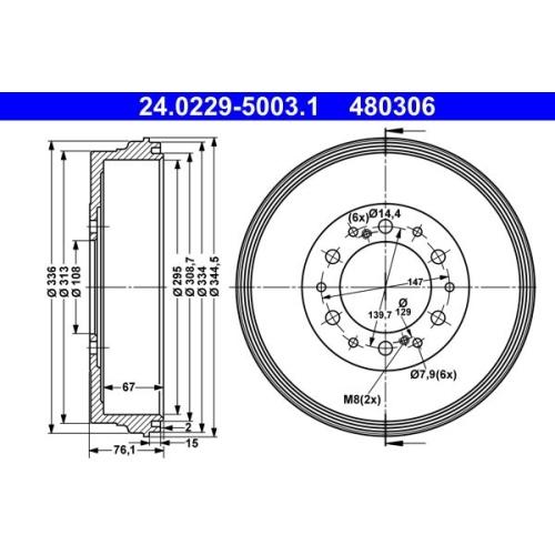Bremstrommel ATE 24.0229-5003.1 TOYOTA