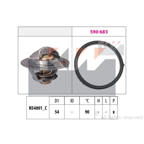 Thermostat, coolant KW 580 802 Made in Italy - OE Equivalent HYUNDAI KIA