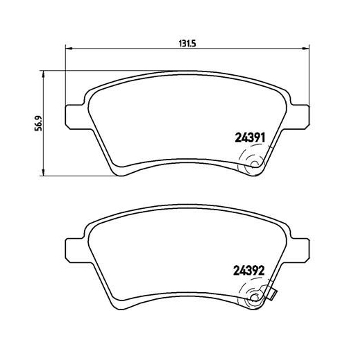 Brake Pad Set, disc brake BREMBO P 23 105 FIAT SUZUKI