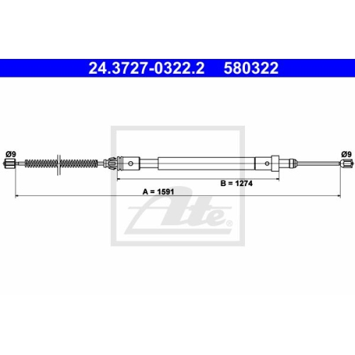 ATE Cable, parking brake 24.3727-0322.2
