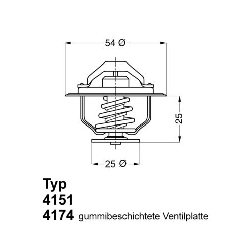 Thermostat, coolant BorgWarner (Wahler) 4151.76D FIAT OPEL RENAULT VAUXHALL