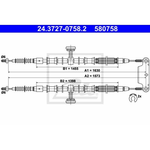 ATE Cable, parking brake 24.3727-0758.2