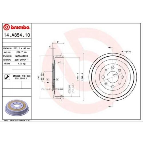 Bremstrommel BREMBO 14.A854.10 FIAT OPEL