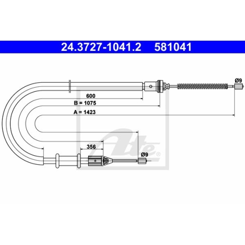ATE Cable, parking brake 24.3727-1041.2