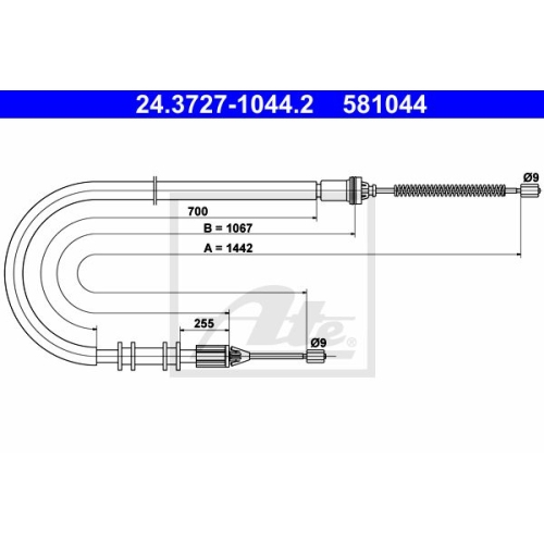 ATE Cable, parking brake 24.3727-1044.2
