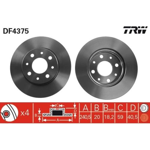 Brake Disc TRW DF4375 FIAT FORD
