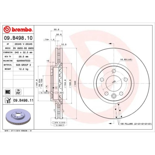 Bremsscheibe BREMBO 09.B498.11 COATED DISC LINE VW