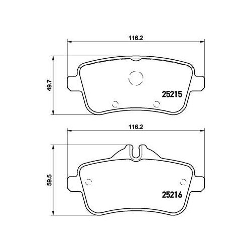 Brake Pad Set, disc brake BREMBO P 50 099 MERCEDES-BENZ