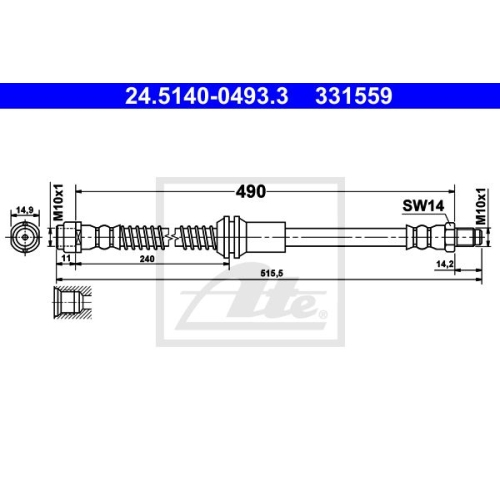 Brake Hose ATE 24.5140-0493.3 MERCEDES-BENZ
