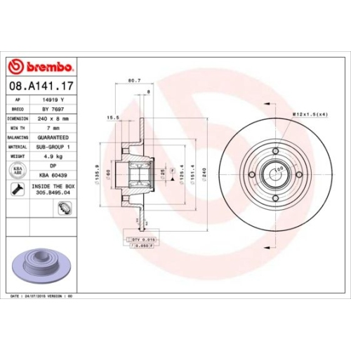Brake Disc BREMBO 08.A141.17 BEARING DISC LINE RENAULT