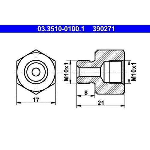Adapter, Bremsleitung ATE 03.3510-0100.1 KÄSSBOHRER