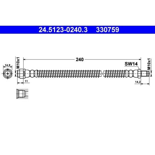 Brake Hose ATE 24.5123-0240.3 MERCEDES-BENZ